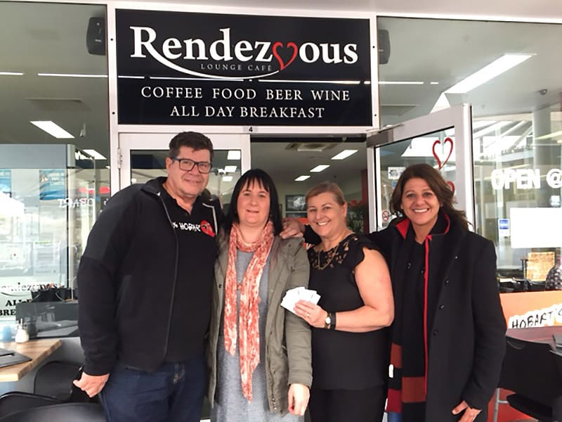 Mick and Maria HOFM, Janet Saunders, CEO and Nell, Rendezvous Lounge Café